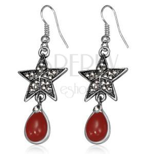 Kovové náušnice - pěticípá hvězda se zirkony a červený kámen