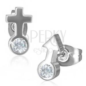 Puzetové ocelové náušnice se symbolem ON a ONA, zirkon