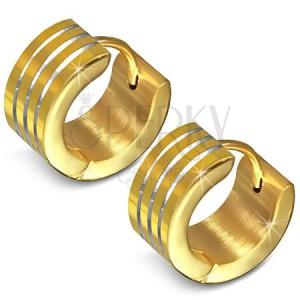 Zlaté ocelové náušnice, kruh se třemi rovnoběžnými rýhami