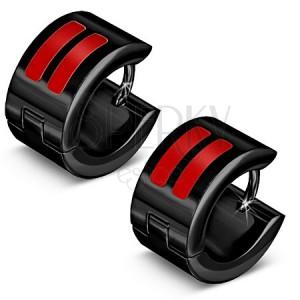 Lesklé černé ocelové náušnice, červené glazurované pásky