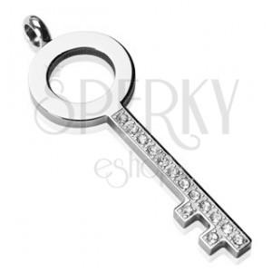 Ocelový přívěsek - jednoduchý klíč se zirkony
