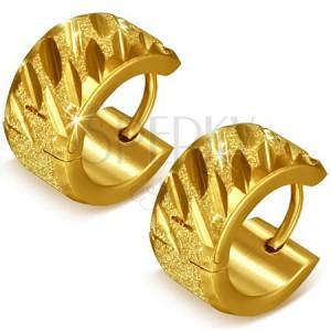 Zlaté pískované kruhy z oceli s rýhami