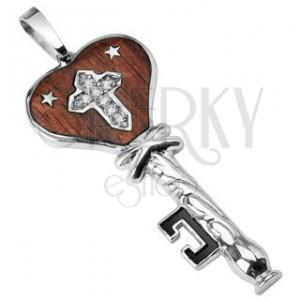 Ocelový přívěsek dřevěný klíč s hvězdičkami