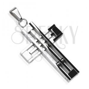 Přívěsek z chirurgické oceli - kříž z překřížených linií