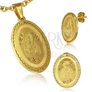 Sada z oceli - zlatý přívěsek a puzetky, Panna Marie, řecký motiv