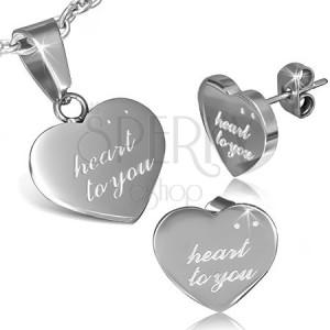 Set z oceli - puzetky a přívěsek, nápis HEART TO YOU