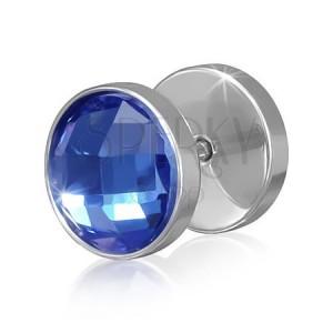 Stříbrný fake plug z oceli - modrý kulatý broušený zirkon