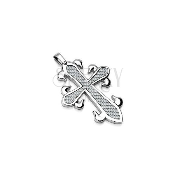 Přívěsek z chirurgické oceli - kříž s propleteným vzorem