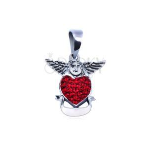 Stříbrný přívěsek 925 - anděl nad červeným srdcem se stuhou