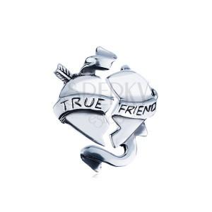"""Dvojitý stříbrný přívěsek 925 - zlomené srdce se stuhou """"TRUE FRIEND"""""""