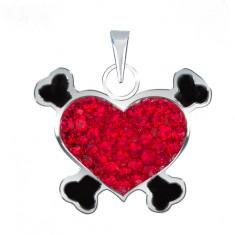 Přívěsek ze stříbra 925 - červené pirátské srdce se zirkony U1.6