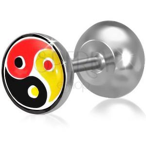 Fake plug do ucha z oceli, barevný Yin-Yang motiv