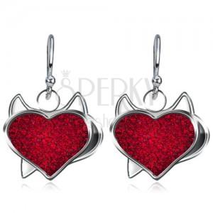 Visací náušnice ze stříbra 925 - čertovské zirkonové srdce