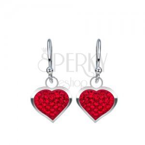 Stříbrné náušnice 925 - lesklé červené srdce vykládané zirkony