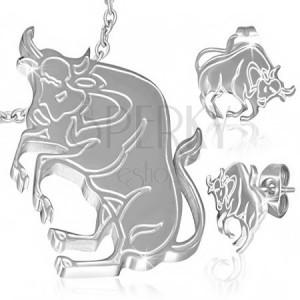 Ocelový set - přívěsek a náušnice, znamení Býk, gravírování