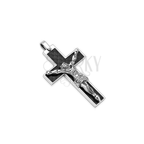 Přívěsek z oceli černý kříž a stříbrný Ježíš