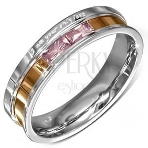 Ocelový prstýnek, růžové zirkony, gravírované vyznání lásky