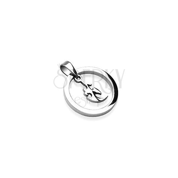 Přívěsek z oceli silný kruh s malým čínským ornamentem