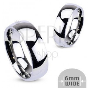 Kovový prsten - zaoblený kroužek lesklé stříbrné barvy