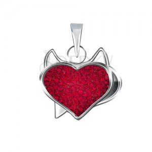 Přívěsek ze stříbra 925 - červené pirátské srdce a zirkony