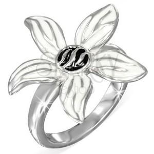 Ocelový prsten, černobílý glazovaný květ