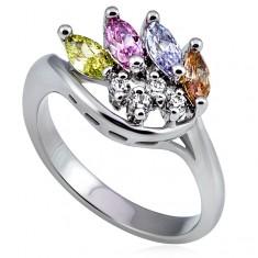 Stříbrný kovový prsten, korunka z barevných a čirých zirkonů L15.06