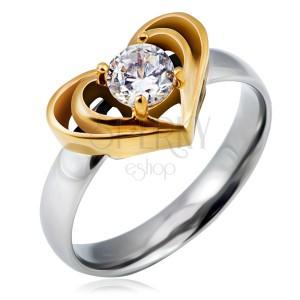 Stříbrný ocelový prsten se zlatým dvojitým srdcem, čirý zirkon