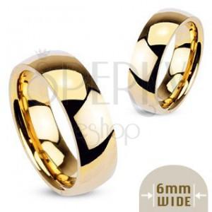 Zlatý kovový prsten - hladký lesklý kroužek