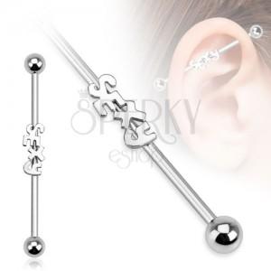 Ocelový piercing do ucha - činka s nápisem SEXY a kuličkami