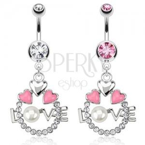 Ocelový piercing do pupíku - kruh, srdce, nápis LOVE s perlou