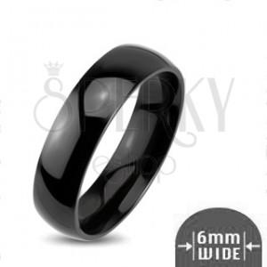 Lesklý kovový prsten - hladká zaoblená obroučka černé barvy