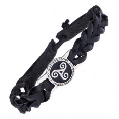 Kožený náramek na ruku - černý pletenec, kovová známka, spirály P2.12