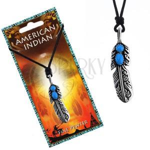 Šňůrkový náhrdelník s indiánským pírkem a modrými očky