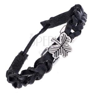 Pletený kožený náramek - černý s kovovou známkou, jetel