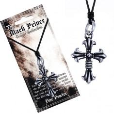 Černá šňůrka na krk a kovový přívěsek, zdvojený kříž, liliové cípy Y54.01
