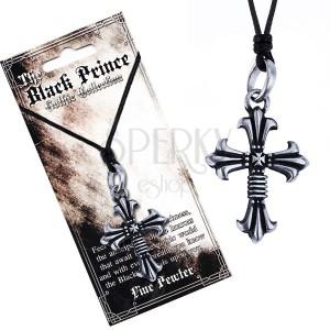 Černá šňůrka na krk a kovový přívěsek, zdvojený kříž, liliové cípy