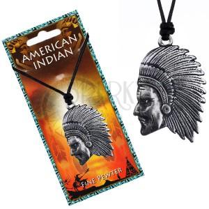 Černý náhrdelník - šňůrka a lesklý kovový přívěsek Indiána