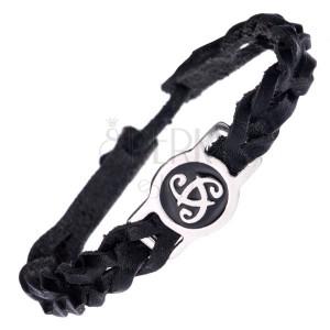Pletenec na ruku z kůže - černý se známkou, sluneční symbol
