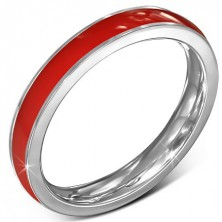 Tenká obroučka z chirurgické oceli - červená, stříbrný lem, 3,5 mm