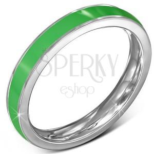 Tenký ocelový prsten - obroučka, zelený pruh, stříbrný okraj