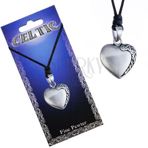 Černý šňůrkový náhrdelník, kovový přívěsek srdce, keltský uzel