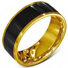 Prsten z chirurgické oceli - hladký černý kroužek, zlatý lem J2.12
