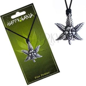 Šňůrkový náhrdelník, černý, kovový smějící se list marihuany