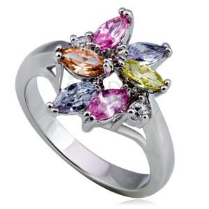 Lesklý kovový prsten - květ, barevné slzičkové a kulaté zirkony