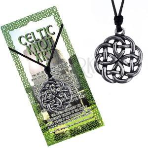 Náhrdelník - černá šňůrka a kovový přívěsek keltský uzel