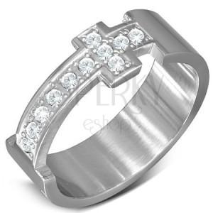 Ocelový prsten - stříbrná obroučka a zirkonový latinský kříž