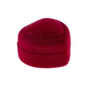 Červená krabička na prsten - sametové tečkované srdce