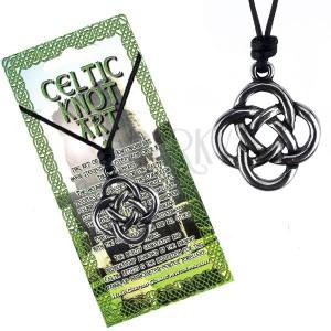 Černý šňůrkový náhrdelník, keltský uzel ze čtyř smyček