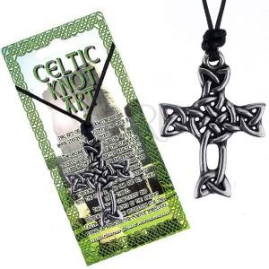 Černá šňůrka na krk a lesklý přívěsek, kříž z keltského uzlu