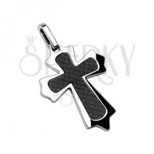 Přívěsek z chirurgické oceli kříž s vlákny a ostrými hranami